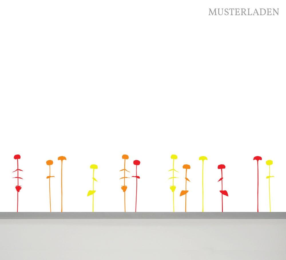 Image of Wandaufkleber Blumenbeet, 12 Blumen in drei Farben