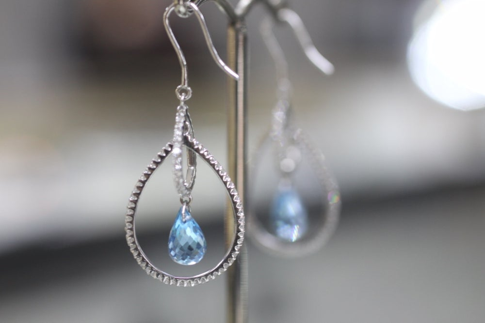 Image of White Gold Drop Earrings Diamonds and Topaz