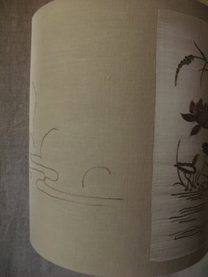 Image of Early 20th Japanese embroidered silk panel lampshade