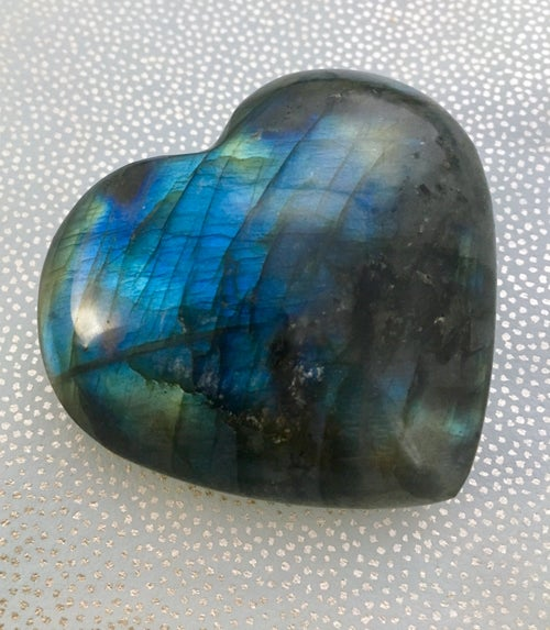 Image of Labradorite Puffy Hearts