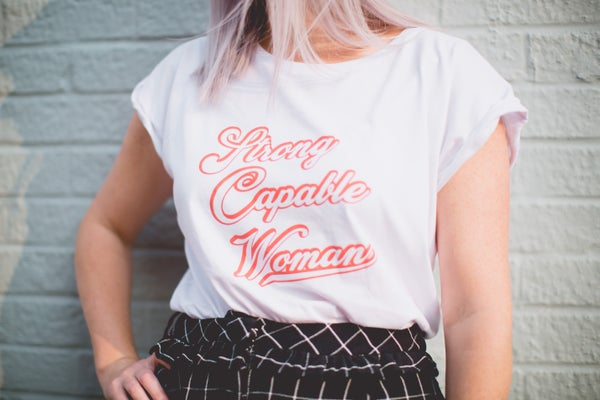 Image of Strong Capable Woman Tshirt (Roll sleeve also available)