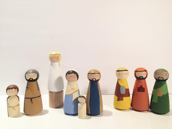 Image of Hand Painted Nativity Set
