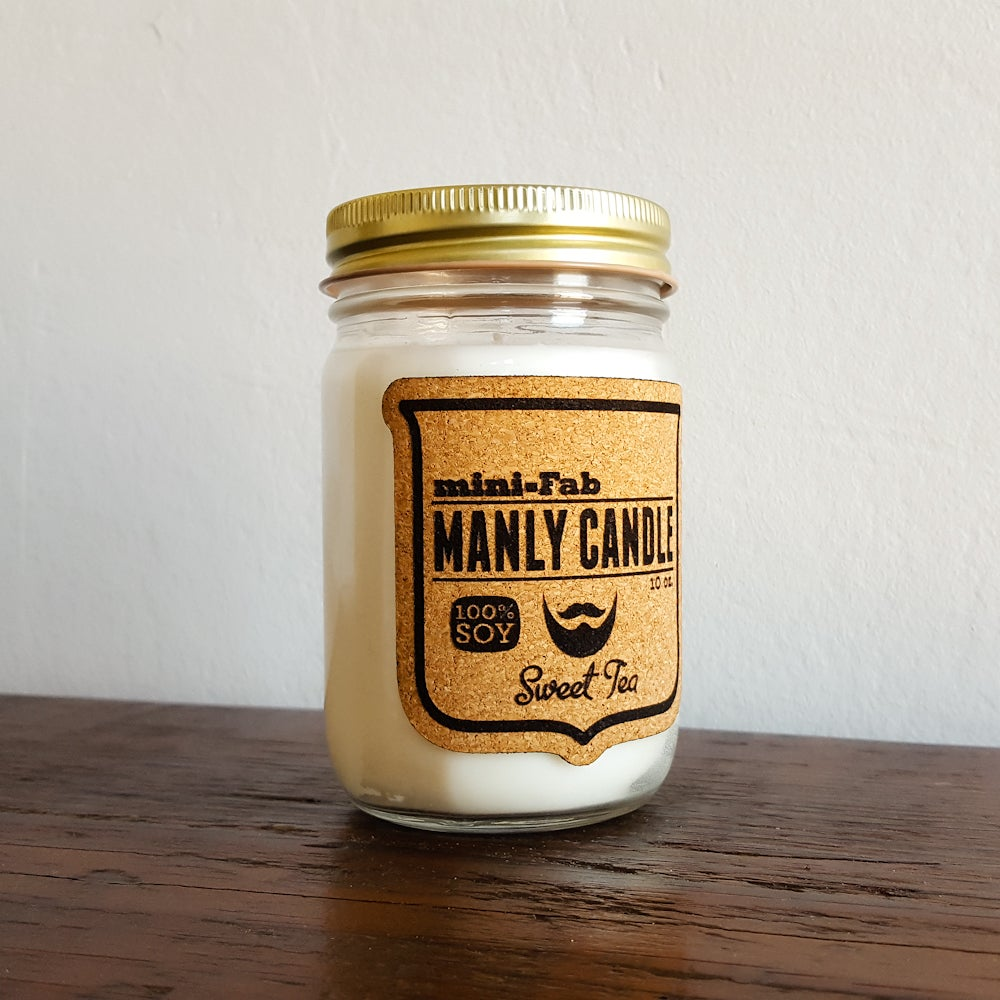 Image of Manly Candle - Sweet Tea Scented Natural Soy Man Candle Hand Poured with Cotton Wick