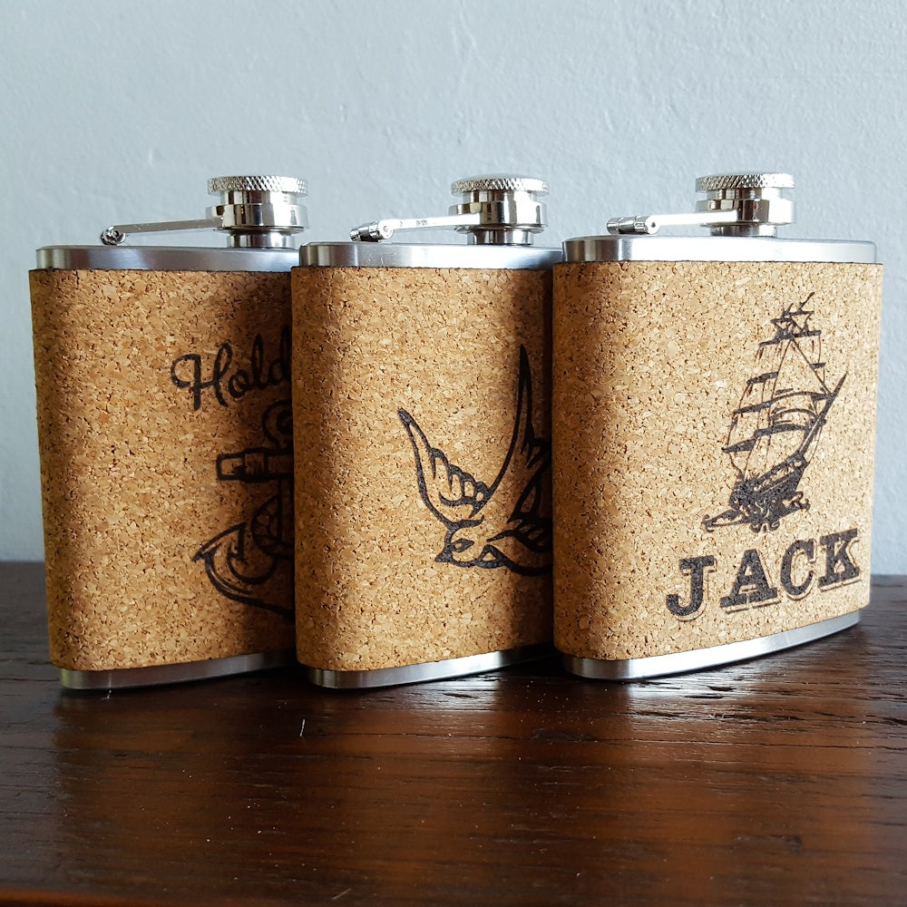 Image of Personalized Cork Flask - 6 oz. Stainless Steel Hip Flask - Sparrow