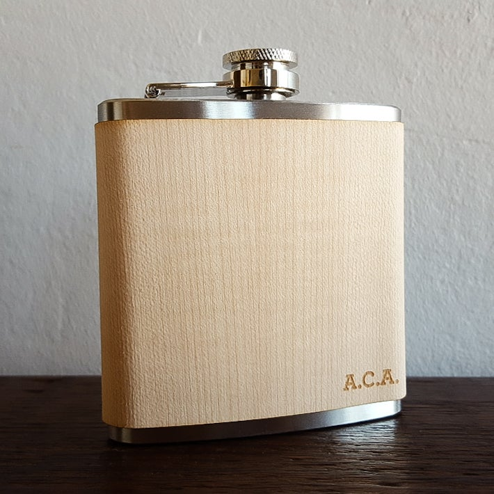 Image of Personalized Wood Flask - 6 oz. Stainless Steel Hip Flask - Maple