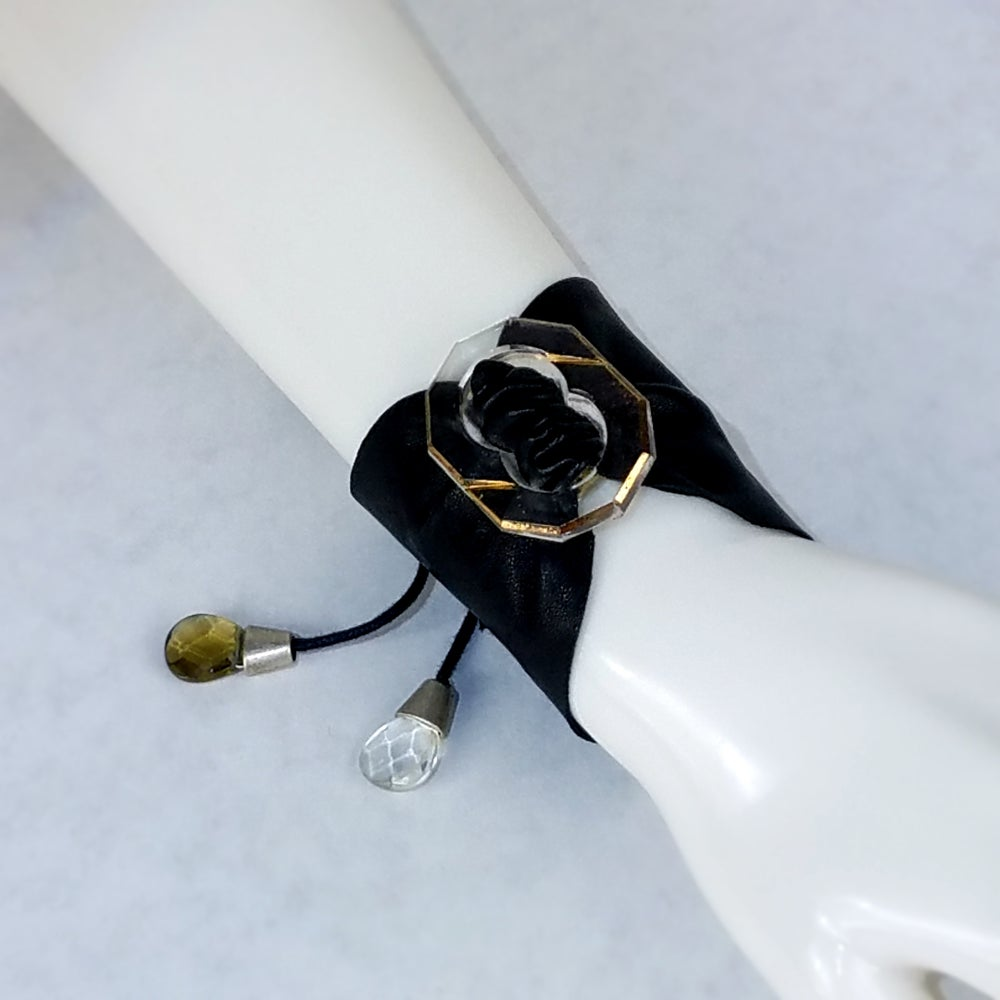 Image of Clear/ Gold Czech Glass with Black Leather