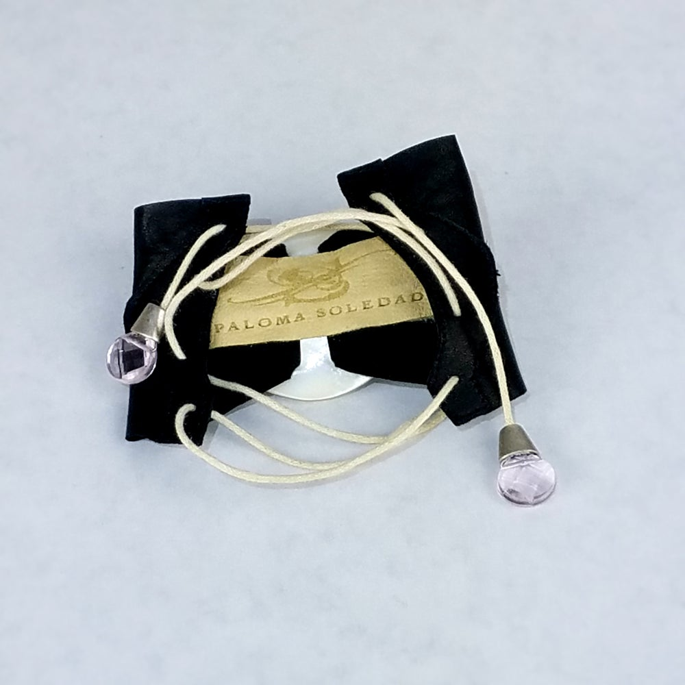 Image of Mother of Pearl with Black Leather