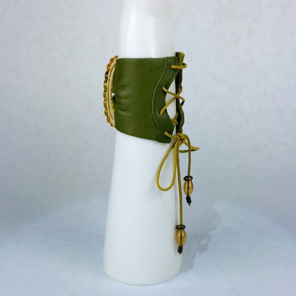 Image of Mustard Czech Glass with Olive Leather