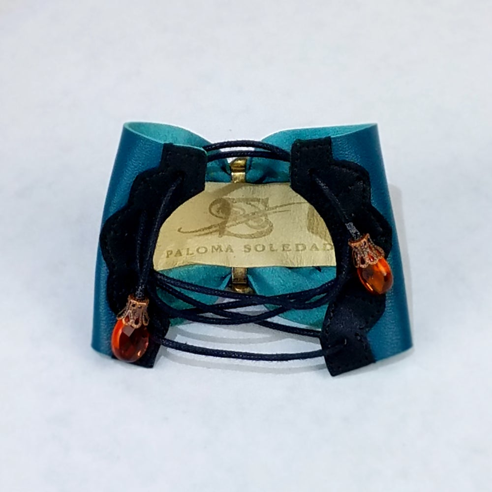 Image of Amber Glass and Crystals with Dark Teal Leather