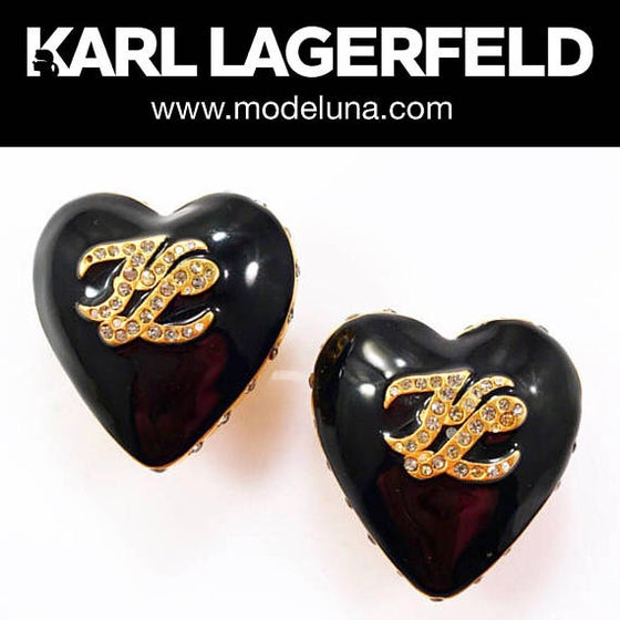 Image of KARL LAGERFELD EARRINGS - Authentic Signed Vintage Black Enamel and Crystal Heart Earrings