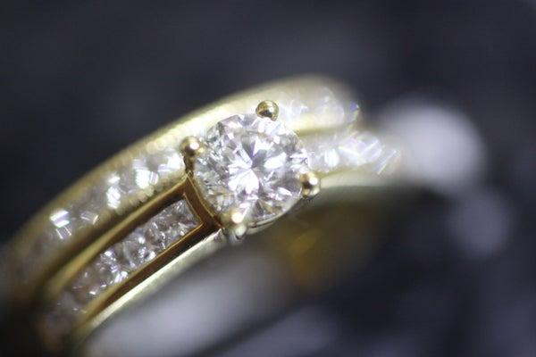 Image of 18 carat Gold Diamond Engagement Ring with Matching Wedding Band