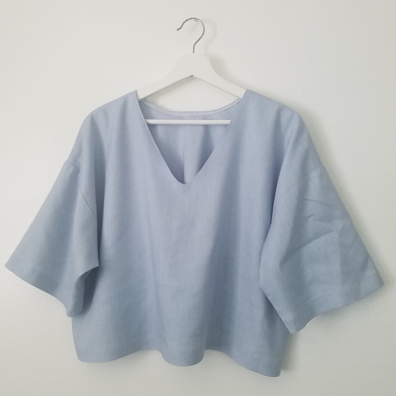 Image of Sky Blue Baggy Crop Top
