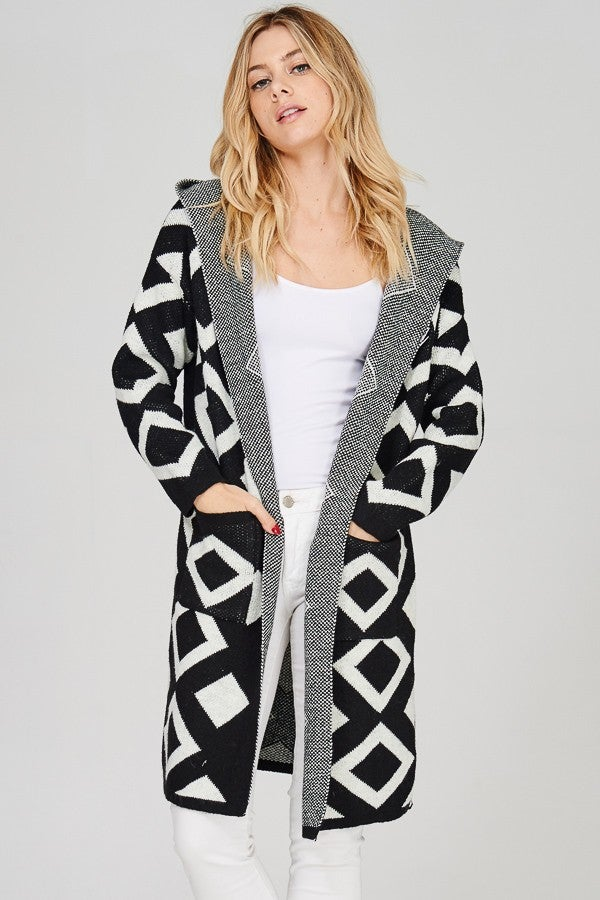 Image of Diamond Pattern Sweater Coat with Hoodie