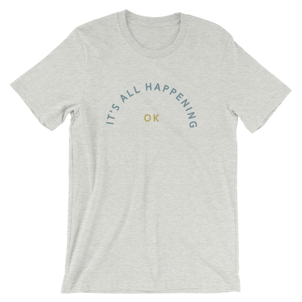Image of it's all happening tee- cream or ash