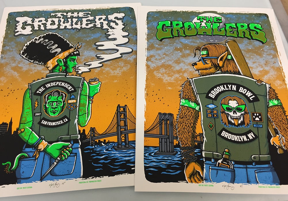 Image of Growlers SF & NY poster - Set & Uncut sheet