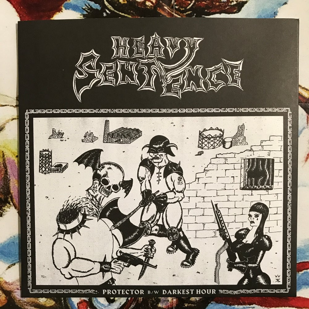 Image of Heavy Sentence - Protector b/w Darkest Hour 7""