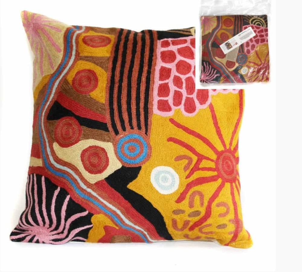 Image of Filled Cushion- Damien +Yilpi Marks