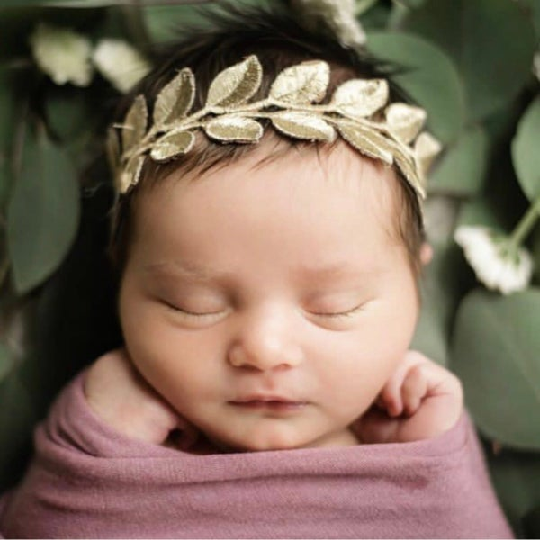 Image of The Laurel Lace Gold Leaf Headband