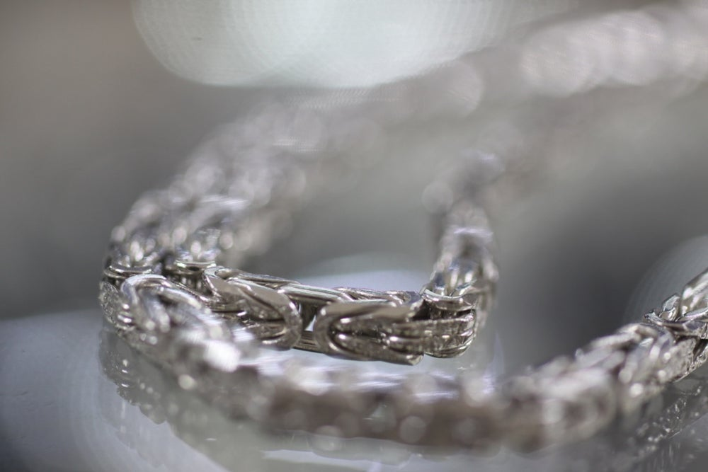 Image of Mens Sterling Silver Franco Wheat Chain