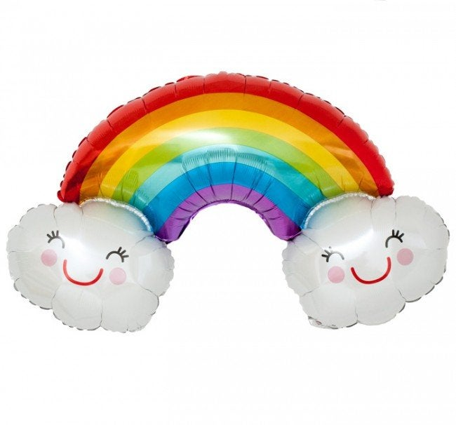 Image of {Jumbo Rainbow + Clouds} Mylar Balloon
