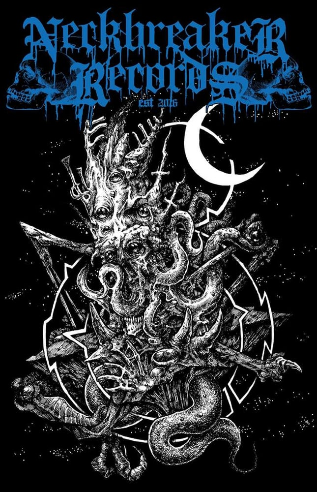Image of Neckbreaker Records Chtulhu Shirt Logo Blue Pre Order