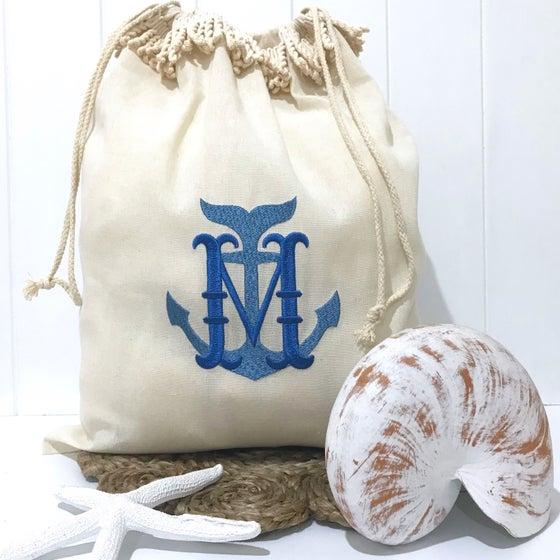 Image of Hamptons Beach Drawstring Bag - Monogrammed