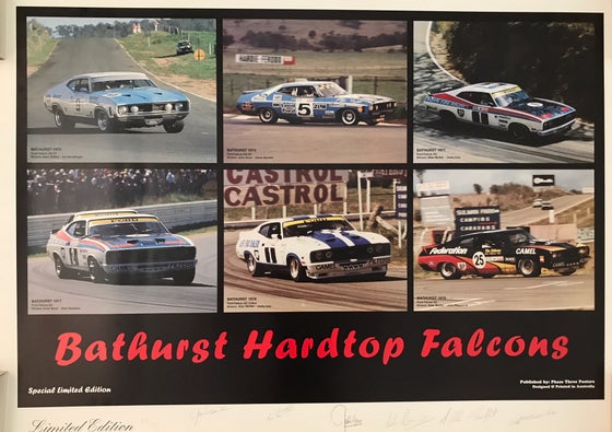 Image of Bathurst Falcon Hardtops. Autographed by 6 drivers incl Moffat, Bond & Geoghegan.