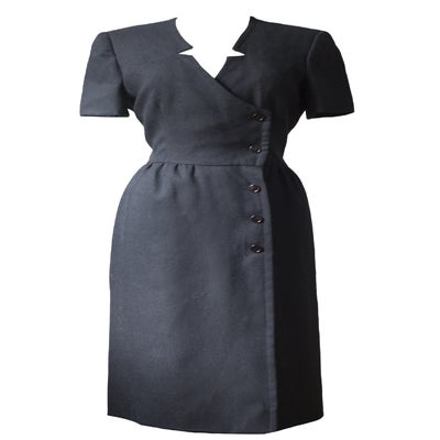 Image of Vintage 80s Mollie Parnis Black Day Dress
