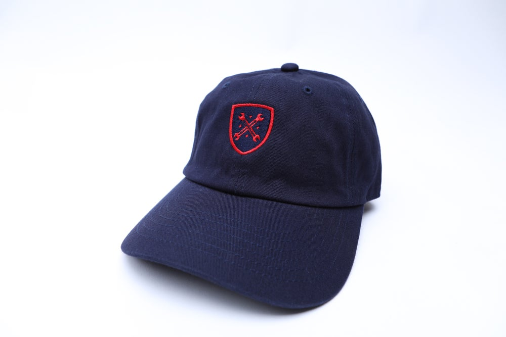 "Image of Navy and Red Logo ""Dad"" Hat"