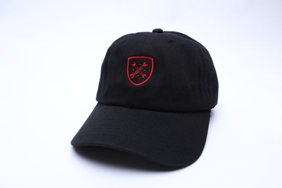 "Image of Black and Red Logo ""Dad"" Hat"