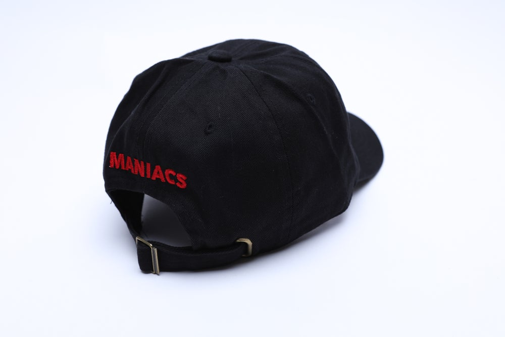 """Image of Black and Red Logo """"Dad"""" Hat"""