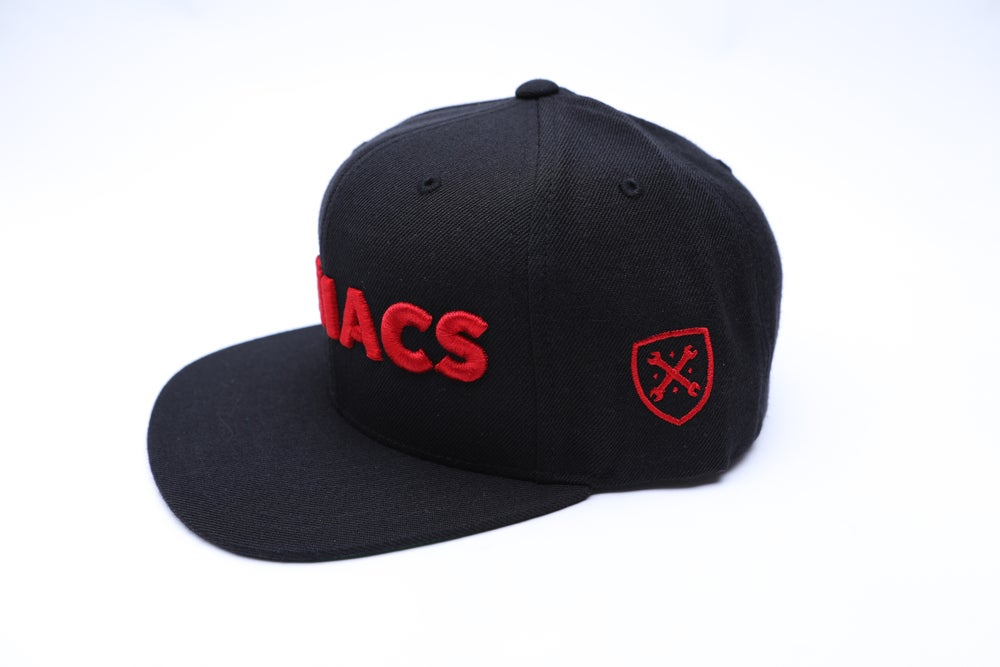 Image of MANIACS Black and Red Snapback