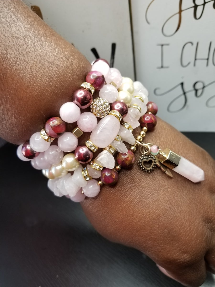 Image of Rose Quartz 5 Piece Bracelet Set