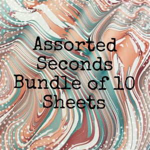 Image of Bundle of 10 Assorted SECOND quality hand marbled papers