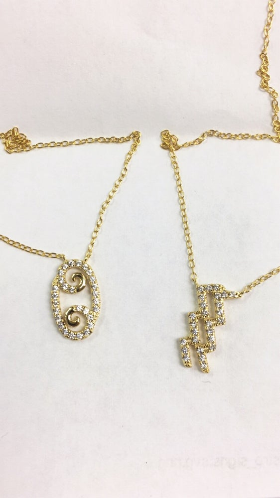 Image of Diamond Horoscope Necklace (all signs)
