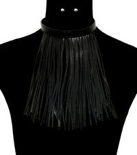 Image of SHREDDED FAUX LEATHER NECKLACE SET