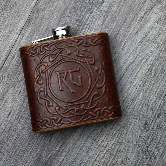 Image of Celtic / Viking Rune - 6oz Leather Hip Flask