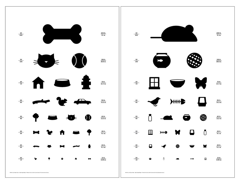 """Image of Set of Two 12"""" x 18"""" Dog & Cat Eye Charts - Classic Size Posters"""