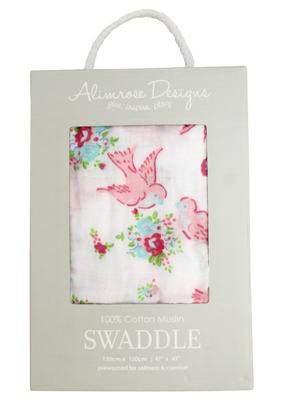 Image of Sweet floral bird muslin swaddle