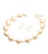 Image of PEARL/GOLD NECKLACE SET
