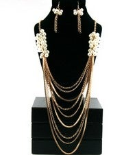 Image of PEARL CHAIN DROP NECKLACE SET