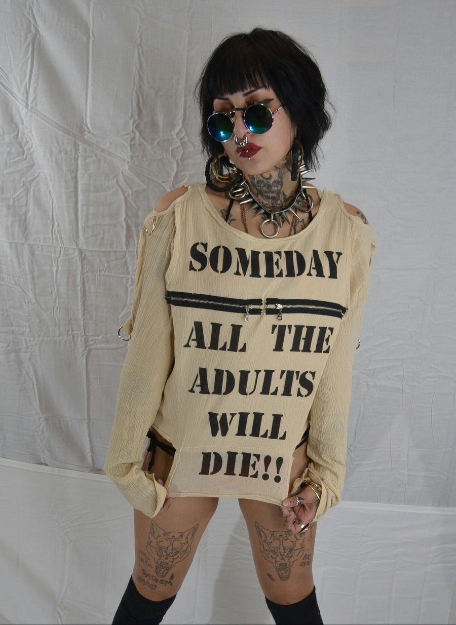 Image of Some Day All The Adults Will Die bondage shirt