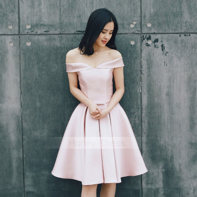Image of Off The Shoulder Champagne Satin Ball Gown Cocktail Dresses With Lace Up Back