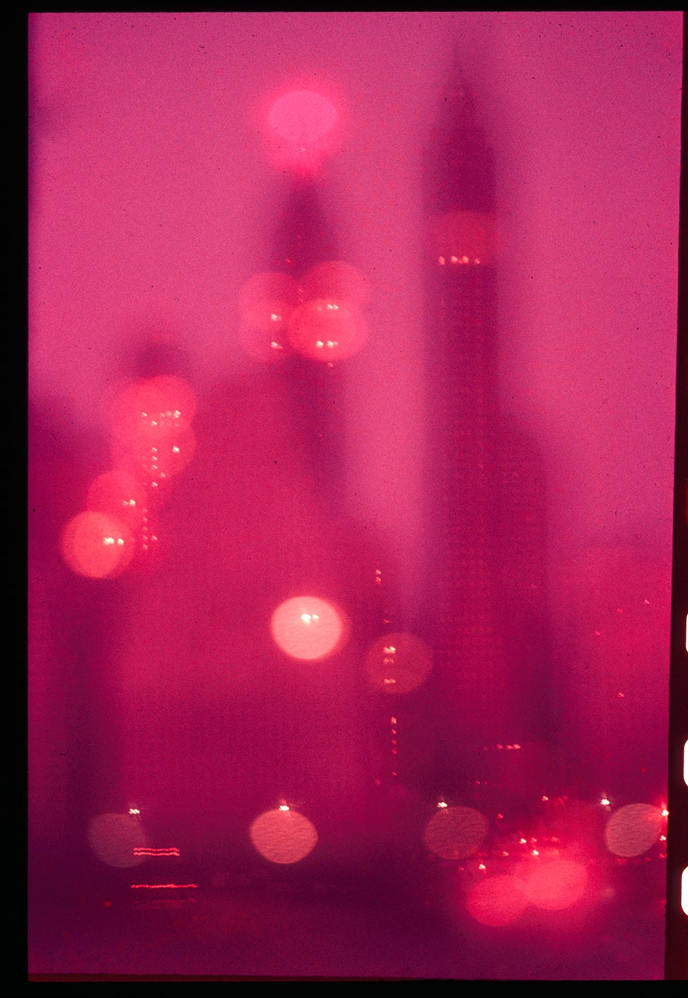 Image of NYC Skyline In Fog; 1950s