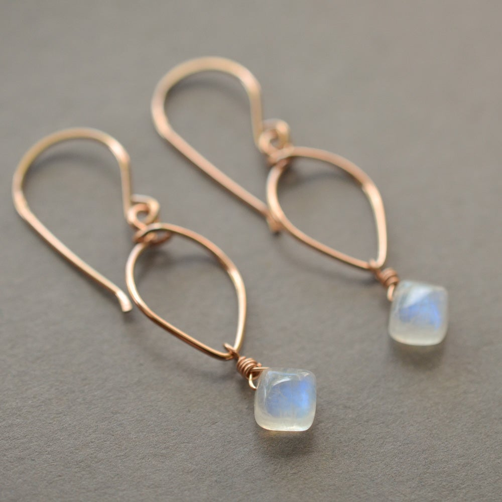 Image of Rainbow moonstone lotus loop earrings 14kt rose gold-filled