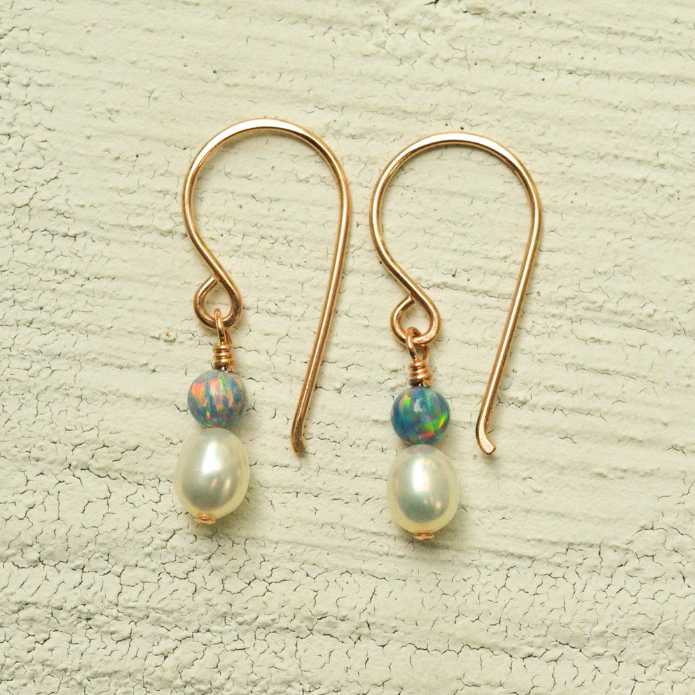 Image of White freshwater cultured pearl earrings simulated opals dangle 14kt rose gold-filled