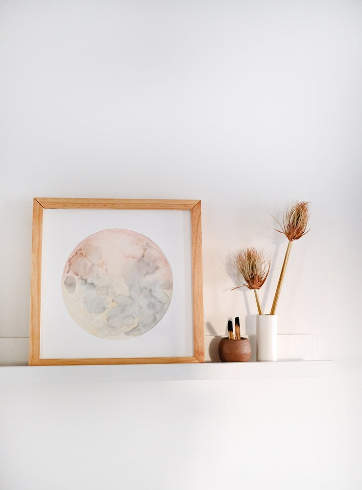 Image of Watercolor Desert Moon Painting - 12x12