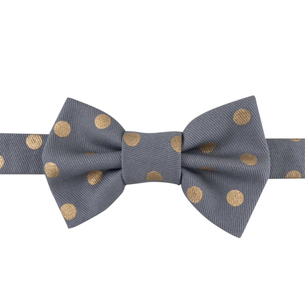 Image of grey & gold dot bow tie