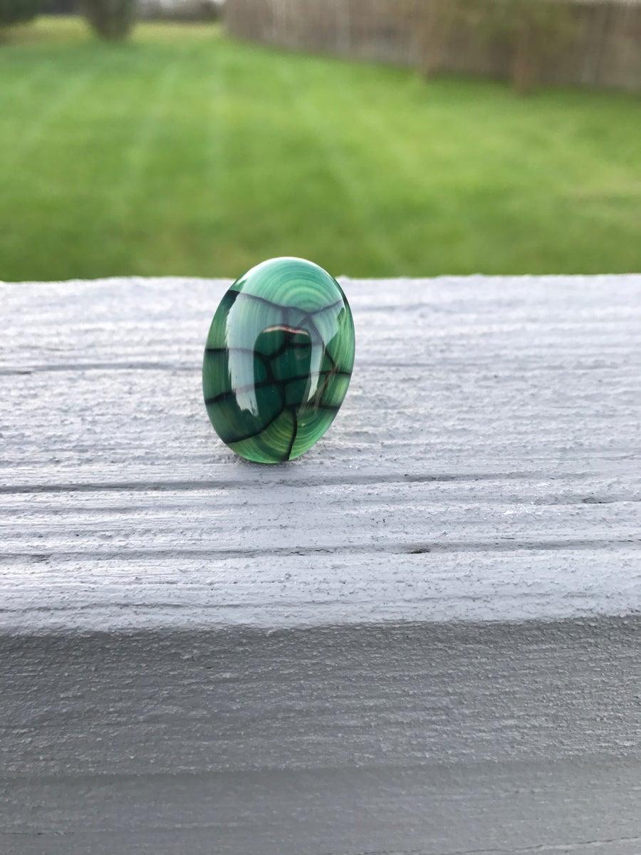 Image of Green Dragon Eye Gemstone Adjustable Ring