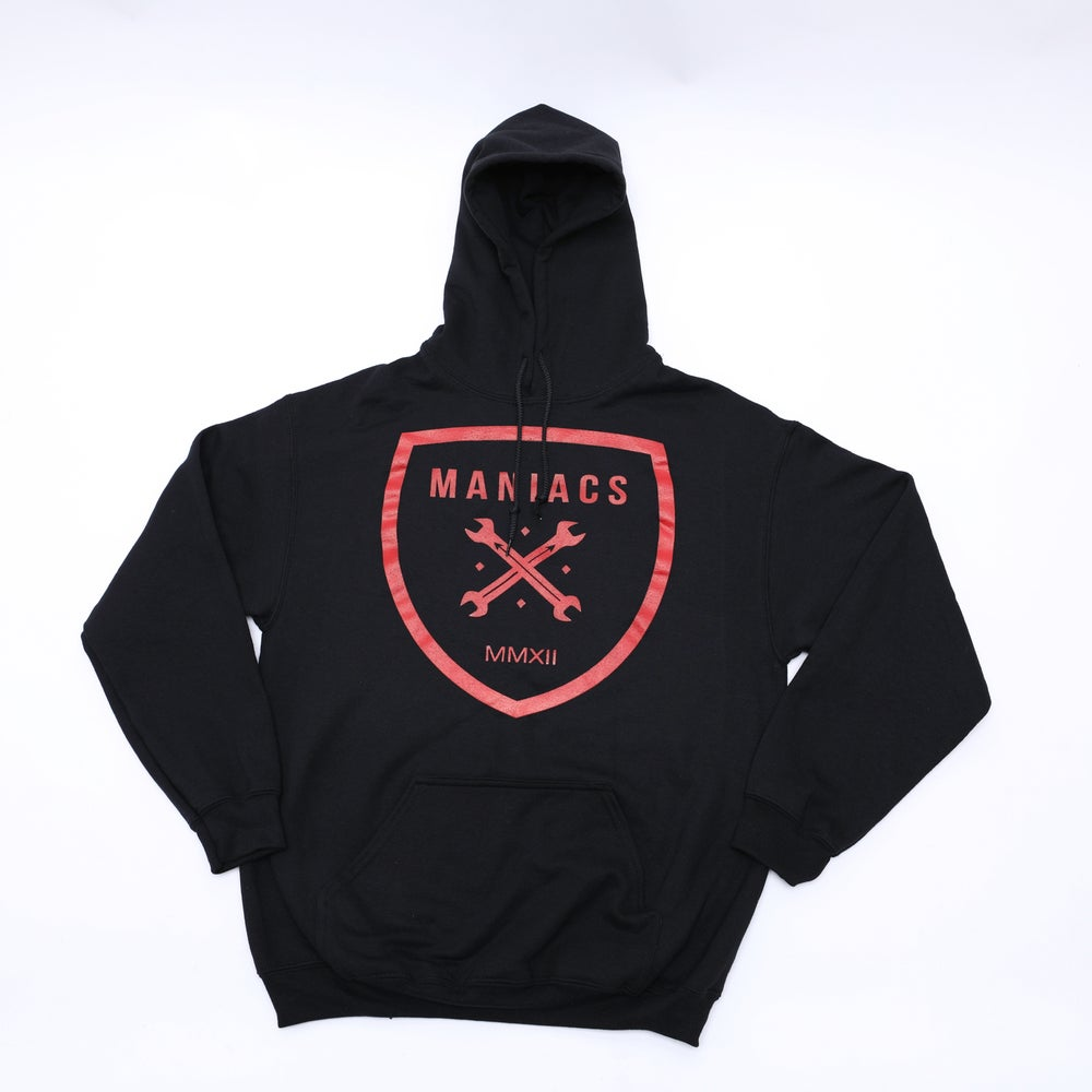 Image of Maniacs Logo Black & Red Hoodie